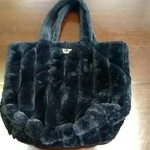 Victoria's Secret black faux fur tote bag